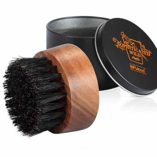Brosse à barbe poil de sanglier ronde BFWood avec boitier métallique