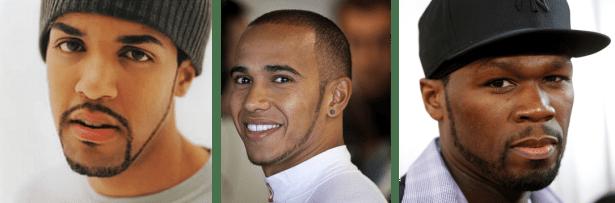 Collier de barbe de Craig David, Lewis Hamilton, et 50 Cent