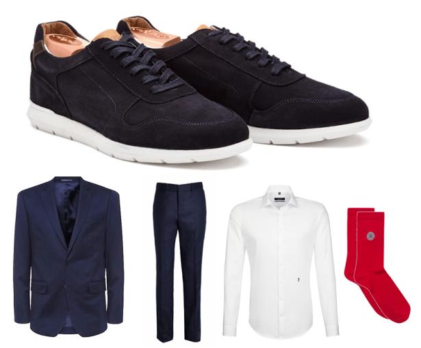 Look business avec des sneakers élégantes