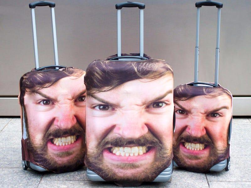 Valise personnalisée avec sa propre tête dessus