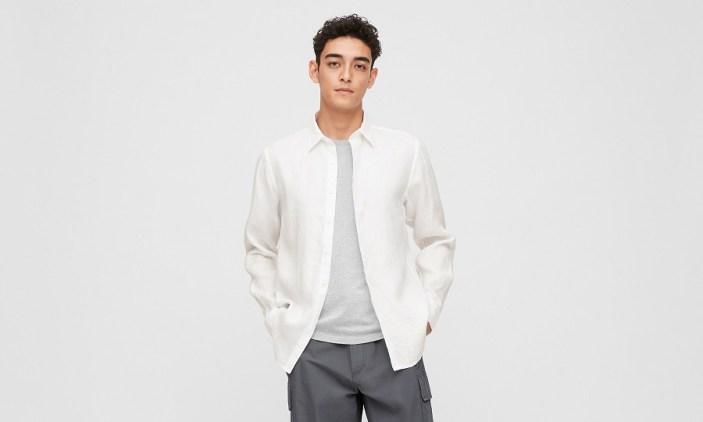 Chemise en lin blanche pour homme - Uniqlo - 100 % lin de première qualité