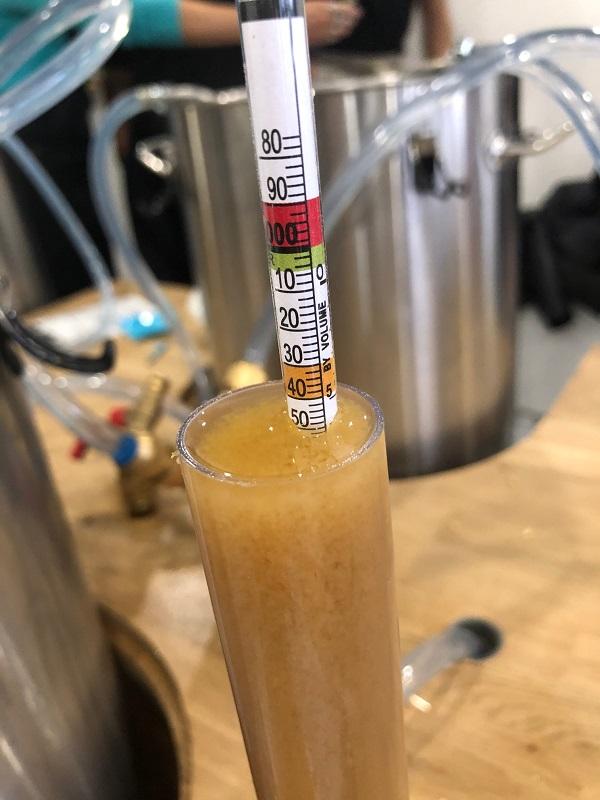 Le densimètre qui permet de déterminer la quantité de sucre et définir la quantité d'alcool dans la bière.  1050 de densité pour 1050 attendus pour une Pale Ale. Ma bière est parfaitement réussie !