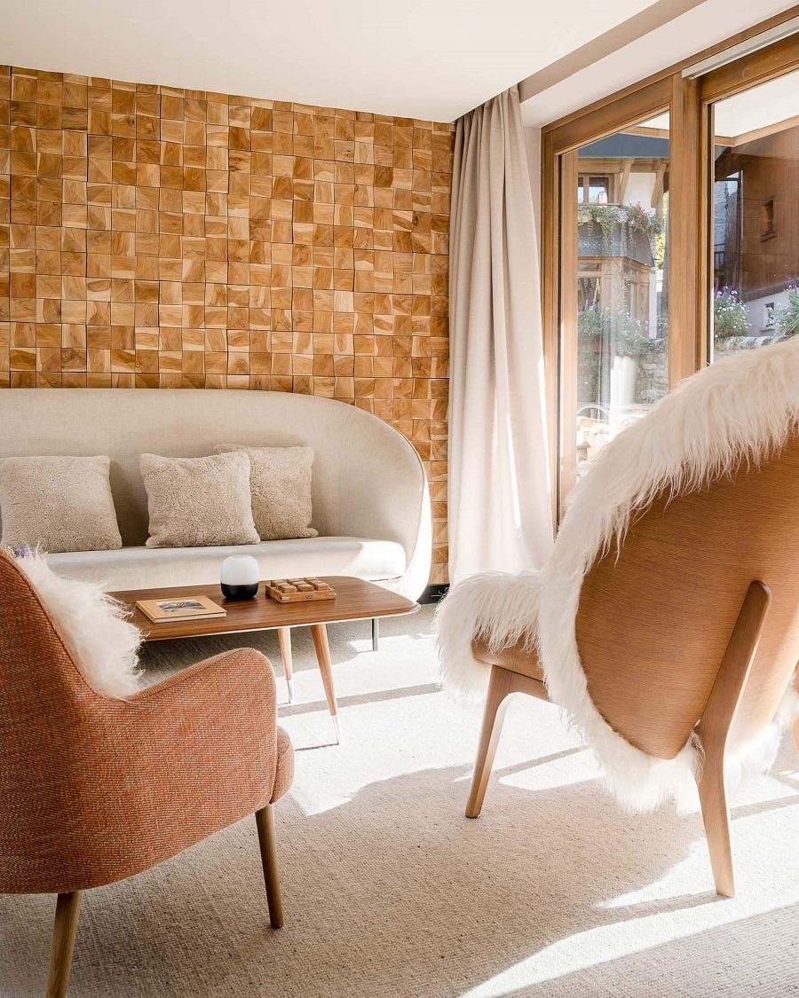 Espace cosy dans l'hôtel Cœur de Megève