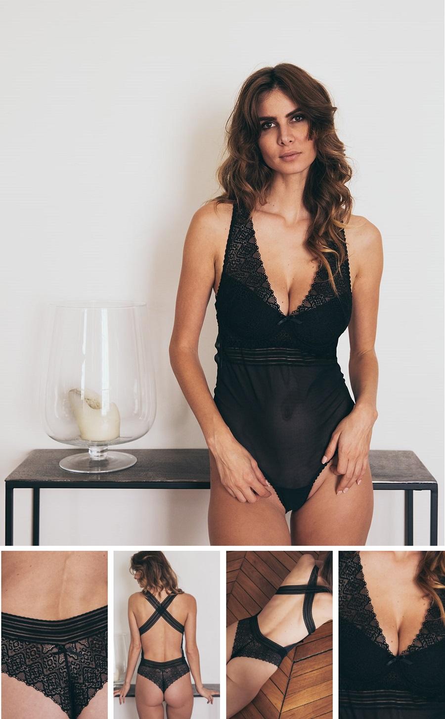 Body Dessus Dessous noir avec armatures pour assurer un maintien parfait, même aux poitrines les plus généreuses