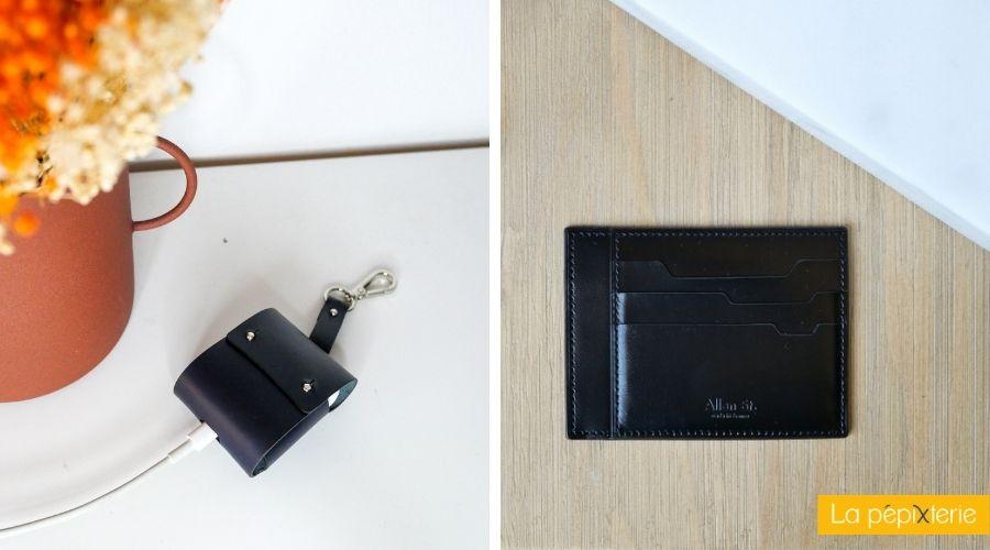 sélection d'accessoires unisexes: un étui AirPods minimaliste et un porte-cartes pour emporter ses cartes et ses papiers d'identités, réalisés en séries limitées en France