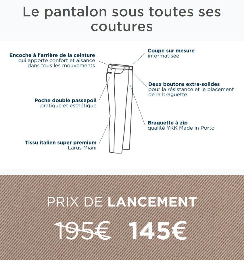 Pantalon sur mesure Le Chemiseur