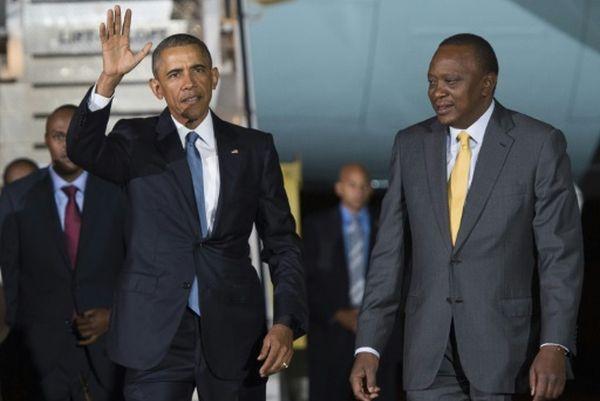 Barack Obama arrives in Kenya