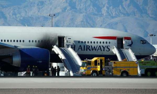 British Airways plane catches fire on Las Vegas runway