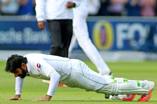 Misbah celebrates century with press-ups