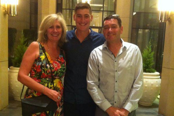 Matt Renshaw with parents in India