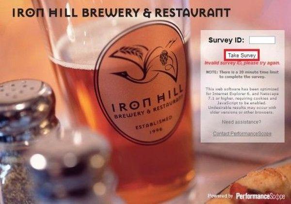 Iron Hill Brewery & Restaurant Survey