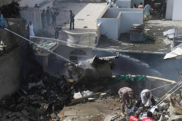 PIA plane crashes near Karachi airport
