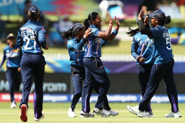 Achini Kulasooriya of Sri Lanka celebrates