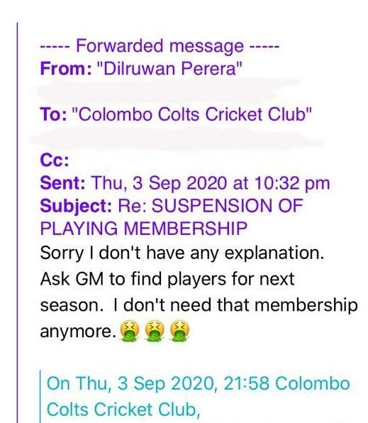 Dilruwan Perera letter email