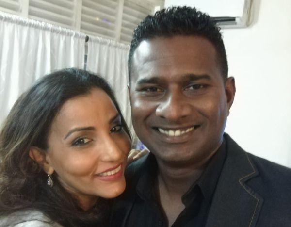 Avishka Gunawardene with his wife