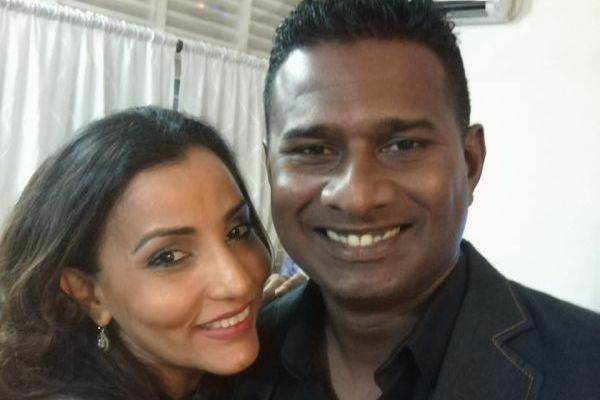 Avishka Gunawardene with his wife