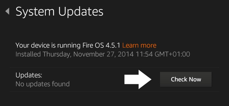 How to automatically download and install software updates on your Kindle Fire - No updates