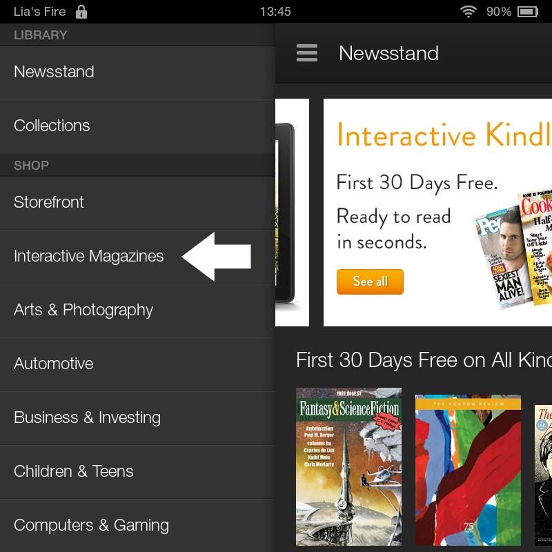 How to subscribe to Interactive Kindle Magazines on your Kindle Fire - tap interactive magazines