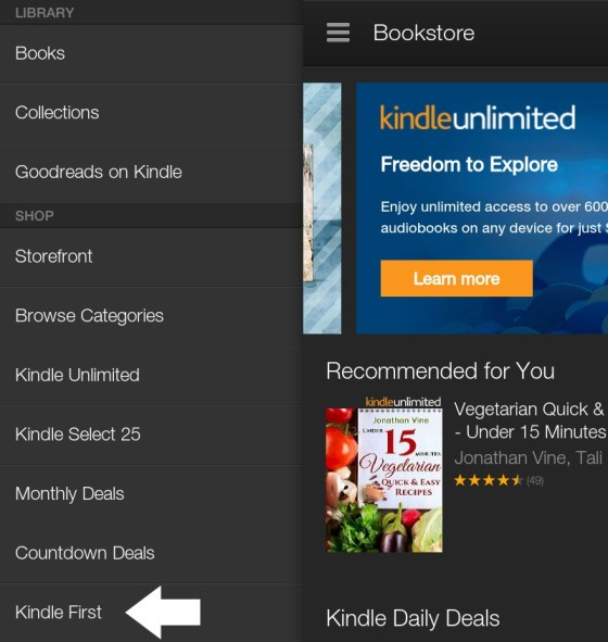 How to download the Kindle First books on your Kindle Fire - tap kindle first