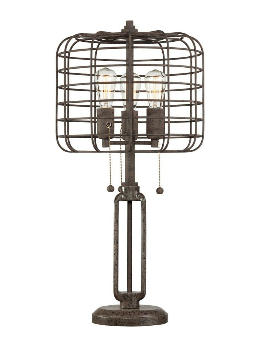 Industrial Cage Edison Bulb Rust Metal Table Lamp