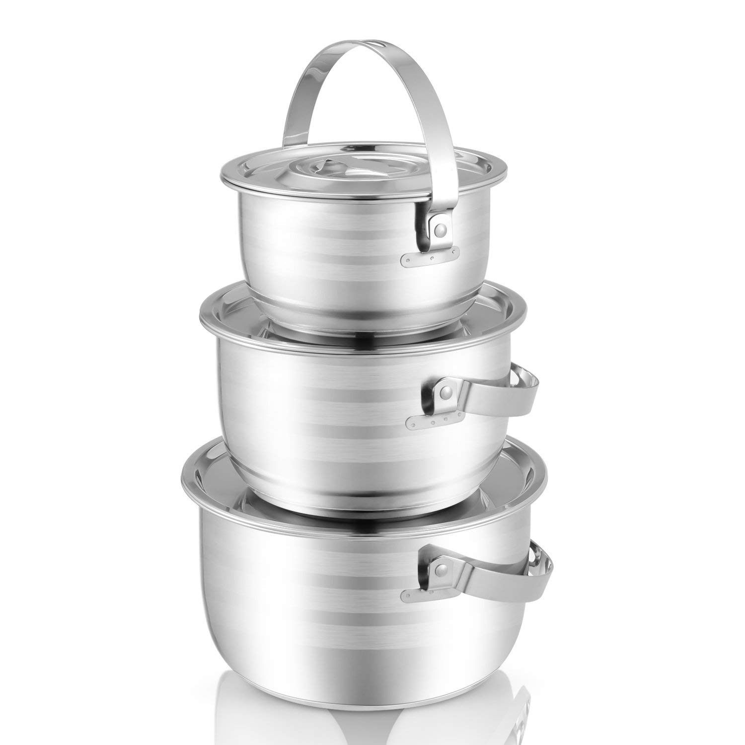 Kinden Stainless Steel Mixing Bowls with Handle and Lids