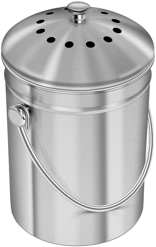 Utopia Kitchen Stainless Steel Compost Bin for Kitchen Countertop