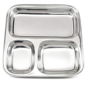 Lifestyle Block Stainless Steel 3 Compartment Plate