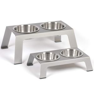 PetFusion Elevated Anodized Aluminum Pet Feeder with Stainless Steel Bowls
