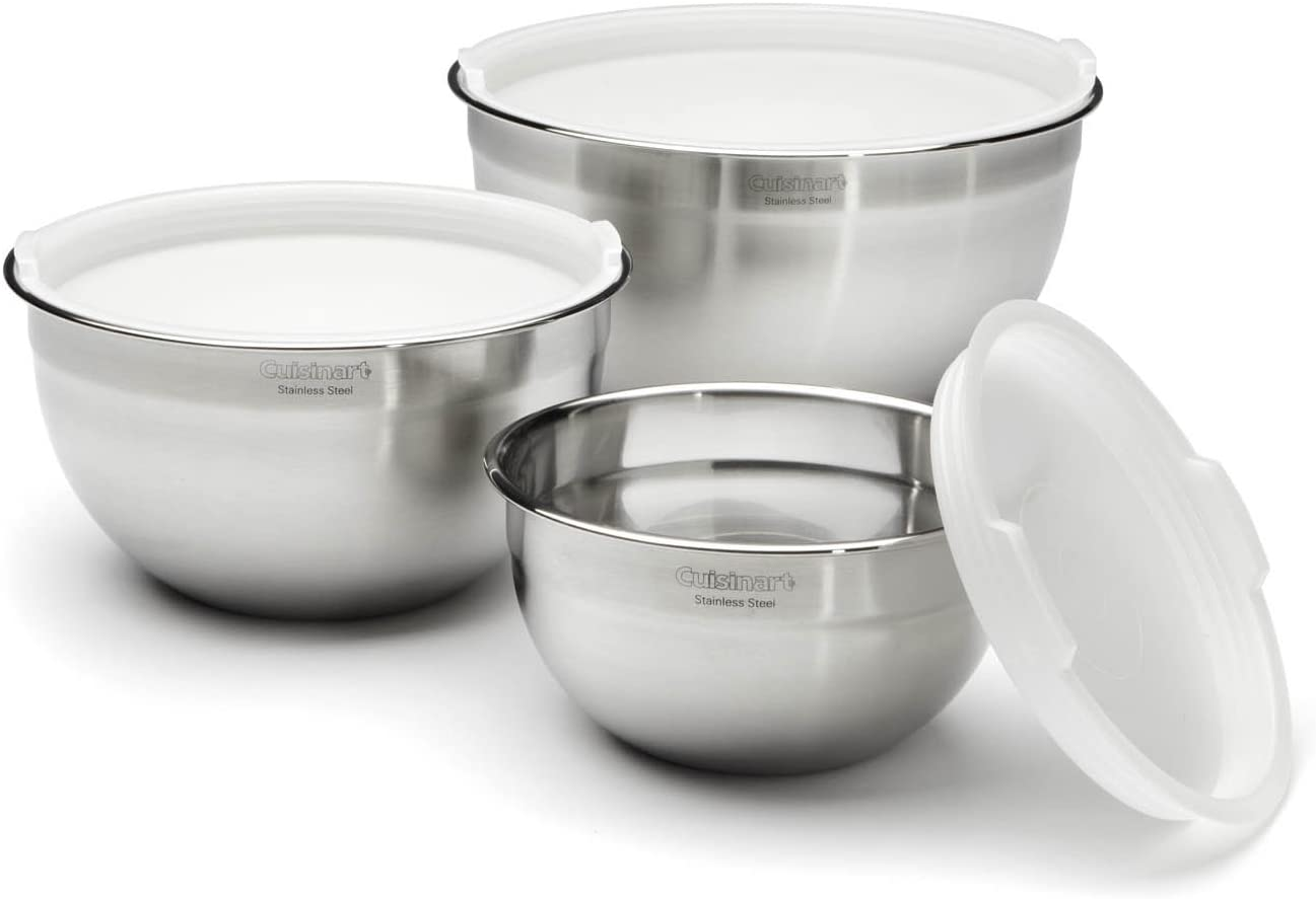 Cuisinart Stainless Steel Mixing Bowls with Lids - Set of 3