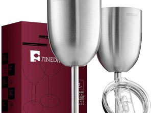 FineDine Premium Grade 18/8 Stainless Steel Wine Glasses 12 Oz. - Set of 2