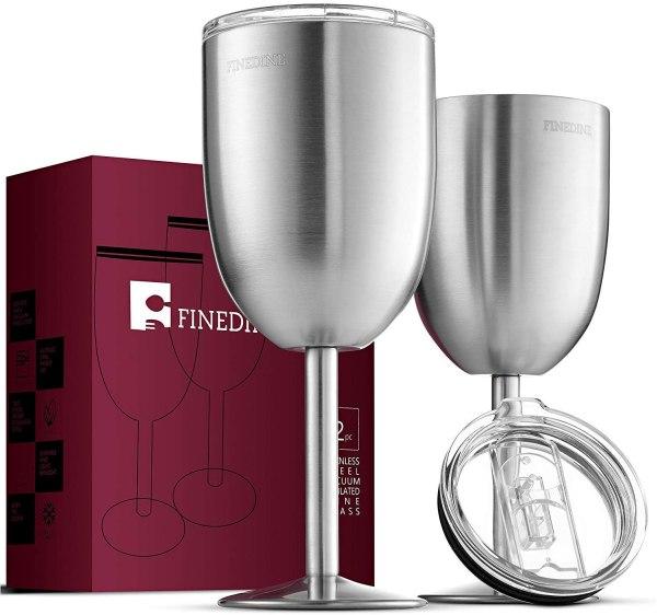 FineDine Premium Grade 18/8 Stainless Steel Wine Glasses 12 Oz. - Set of 2