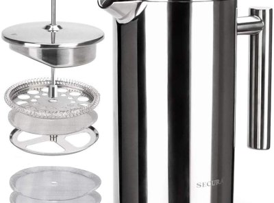 Secura Stainless Steel Insulated French Coffee Press with 2 Extra Screens 34Oz.