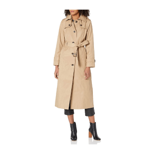 LONDON FOG Women's Single-Breasted Long Trench Coat with Epaulettes and Belt