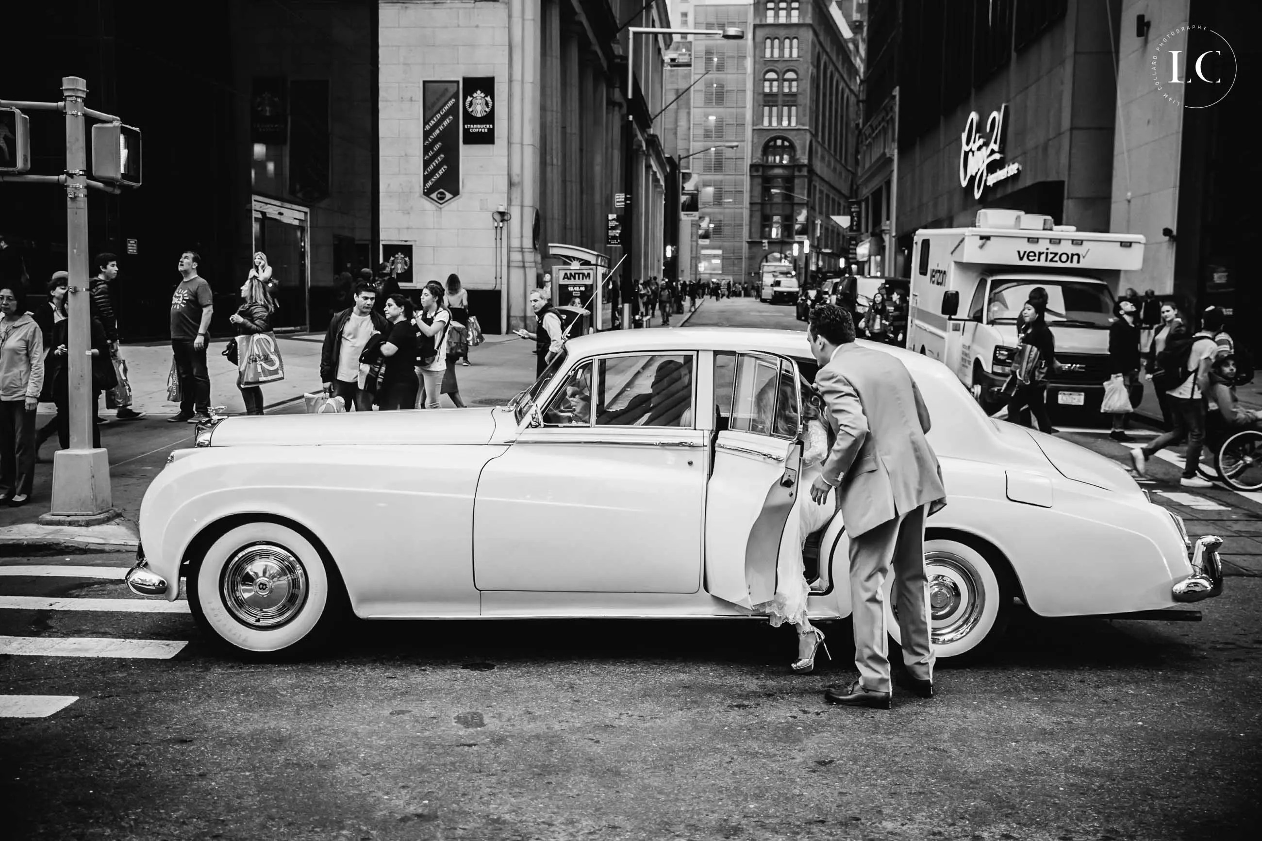 Black and white photo of vintage car