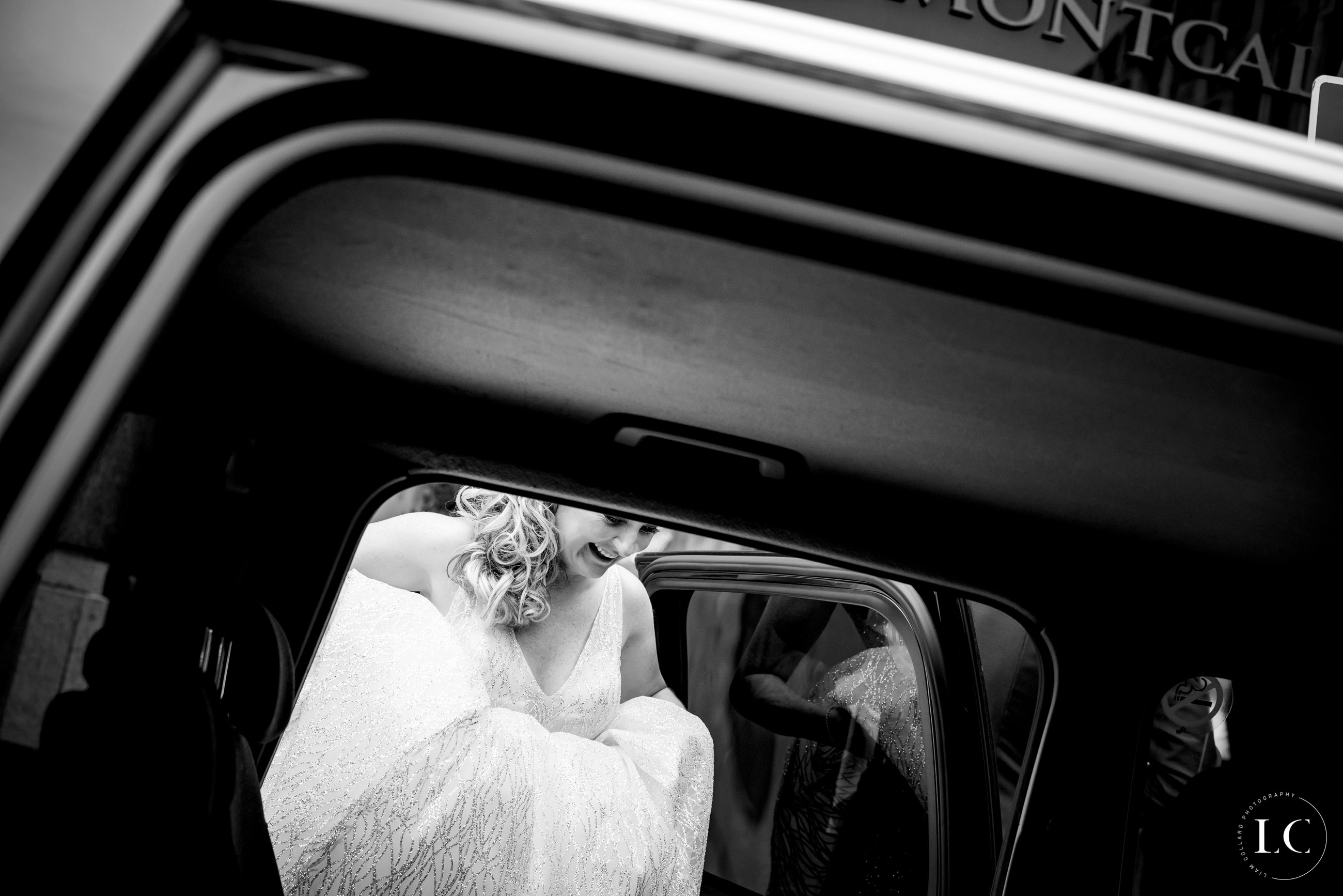 Bride getting into the car