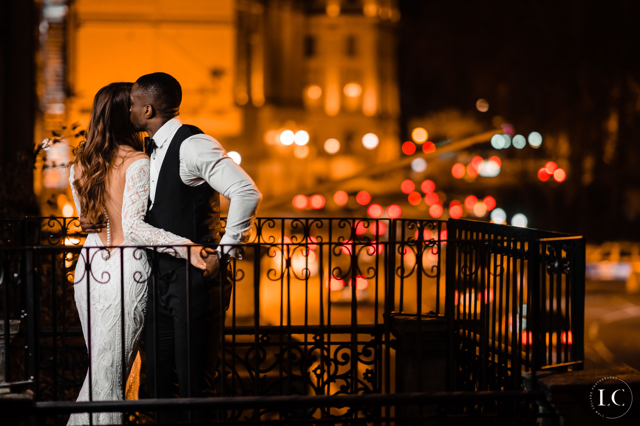 Couple embracing at night