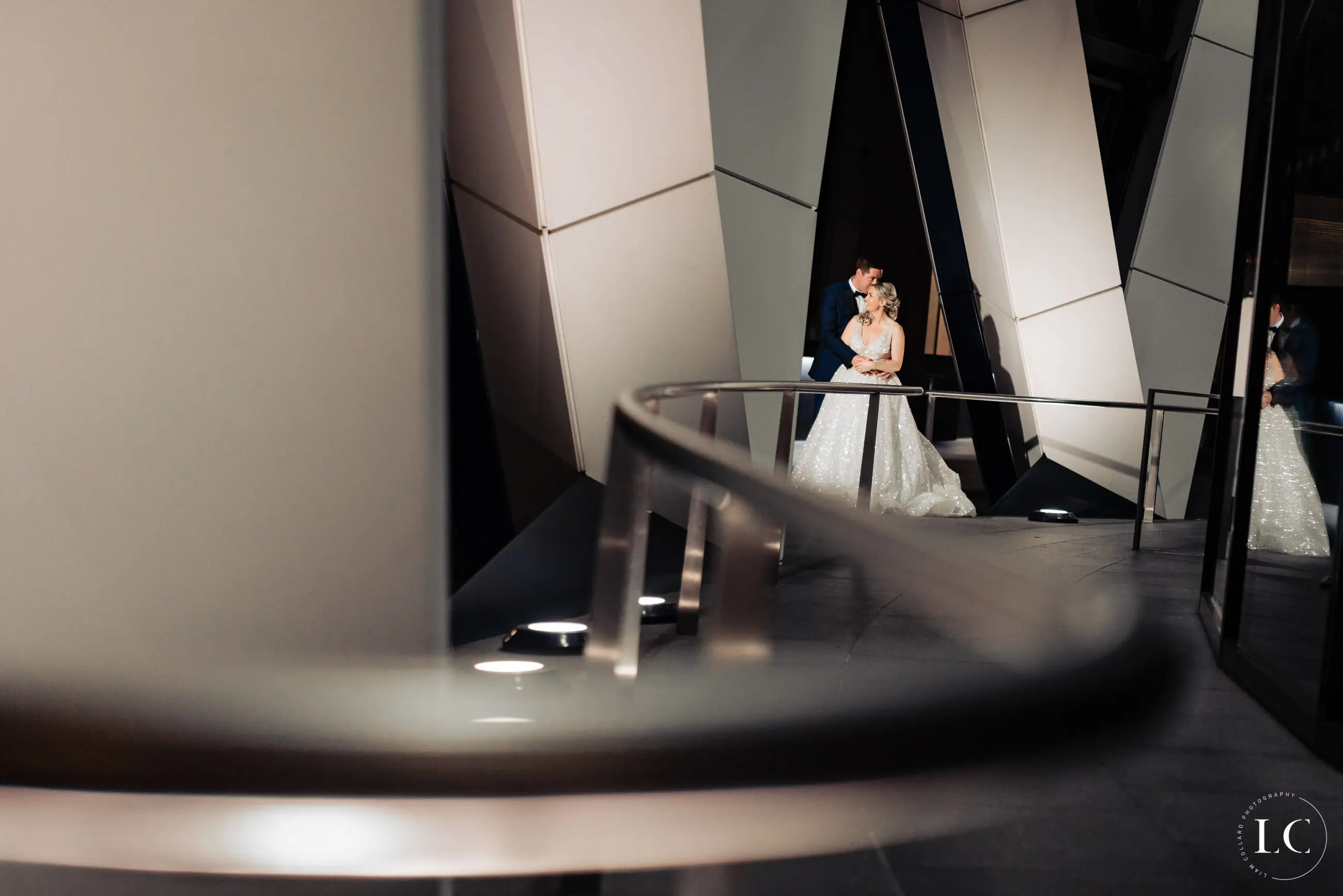 Bride at staircase
