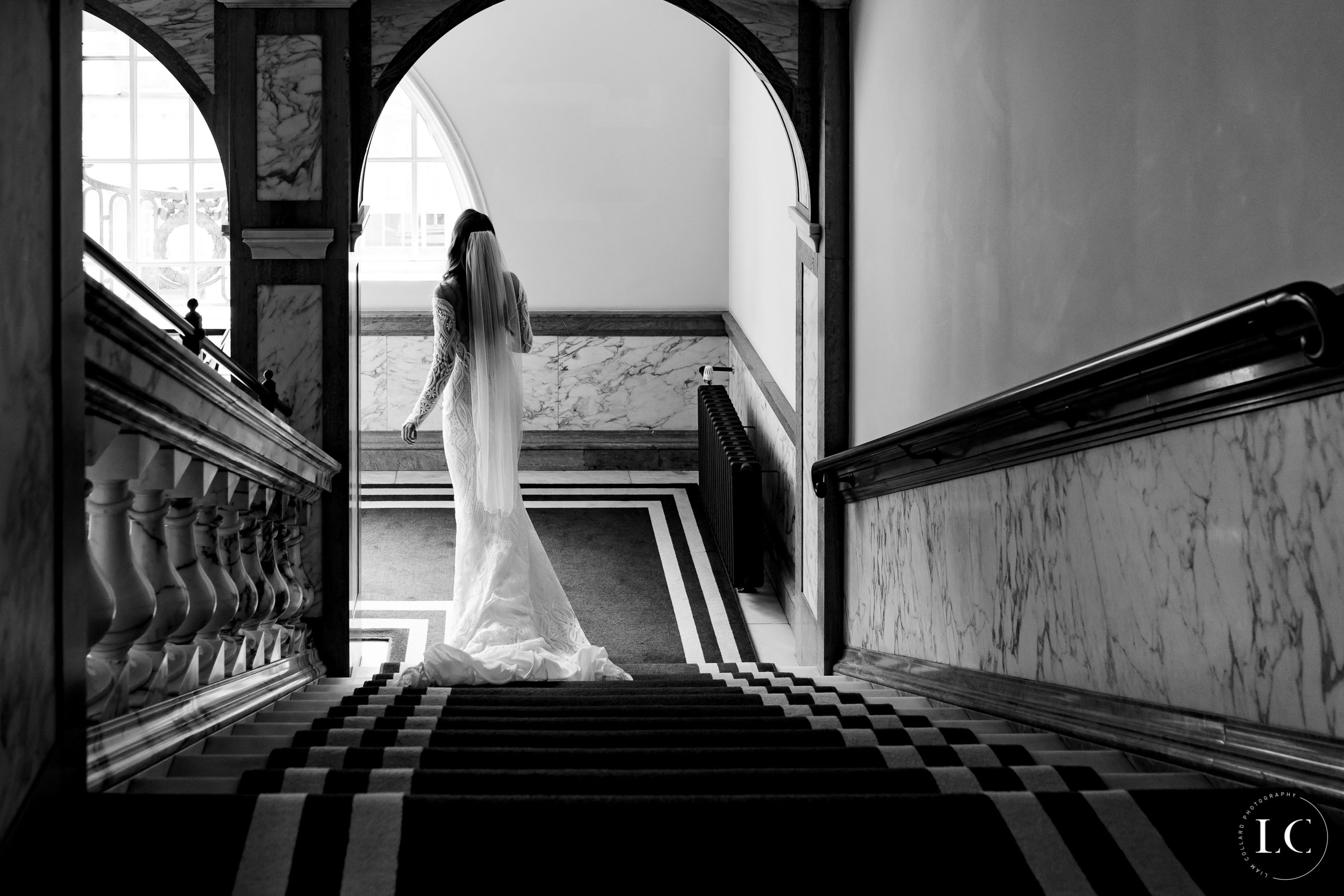 Black and White of bride