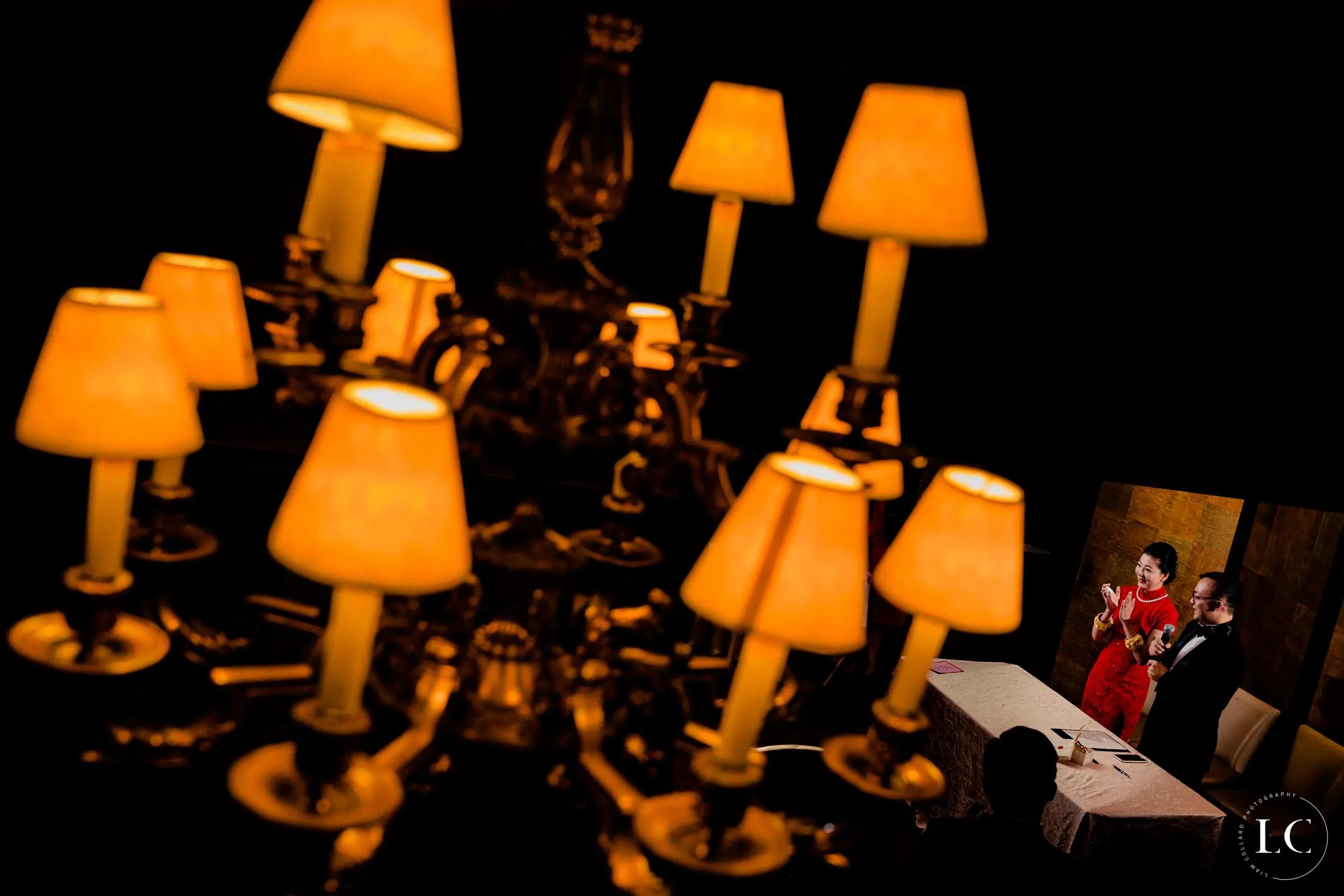 Lamps at wedding reception