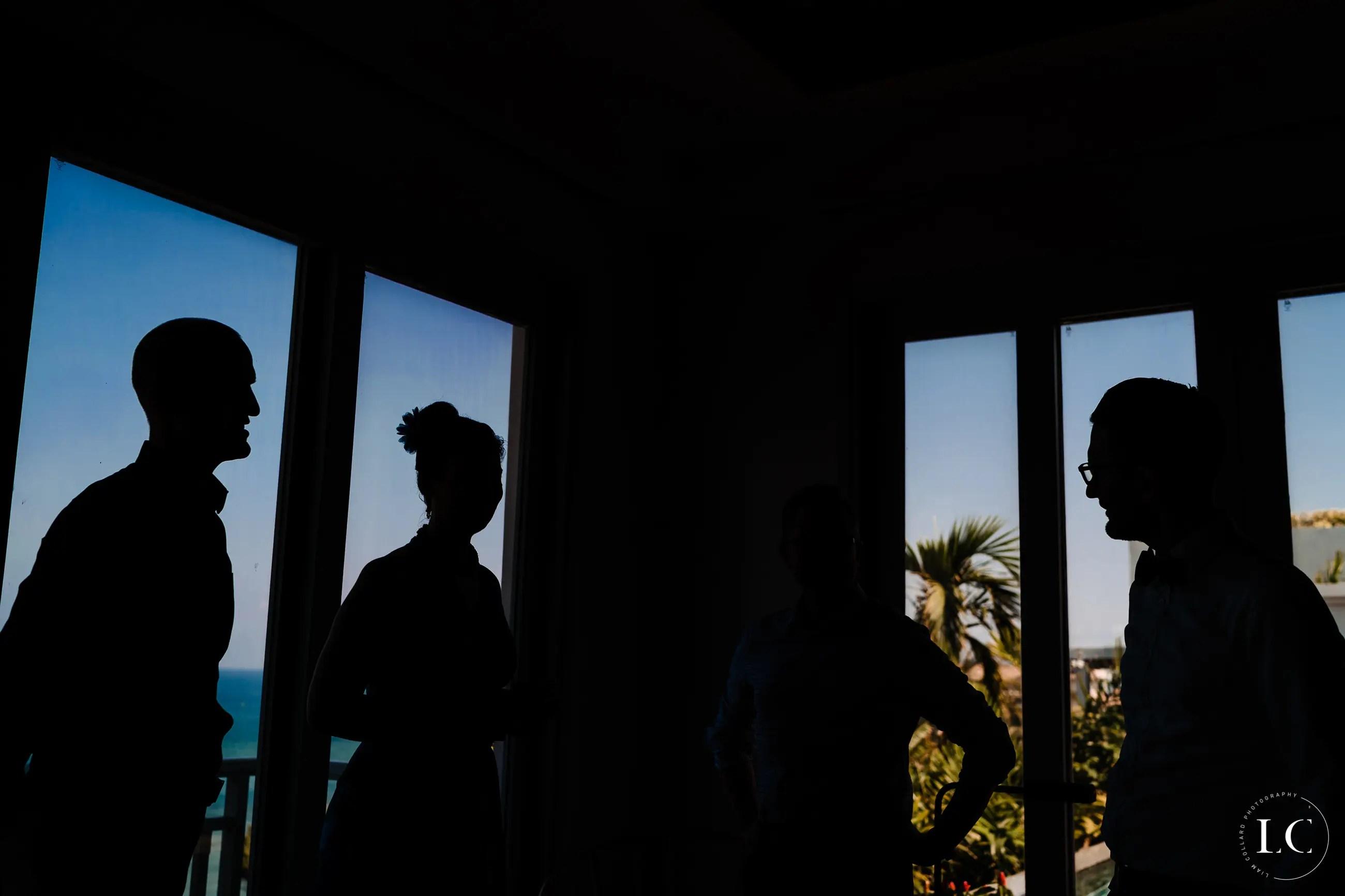 Shadows of bridal party