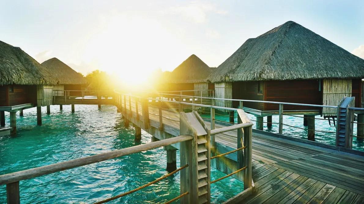 Wooden dock Bora Bora