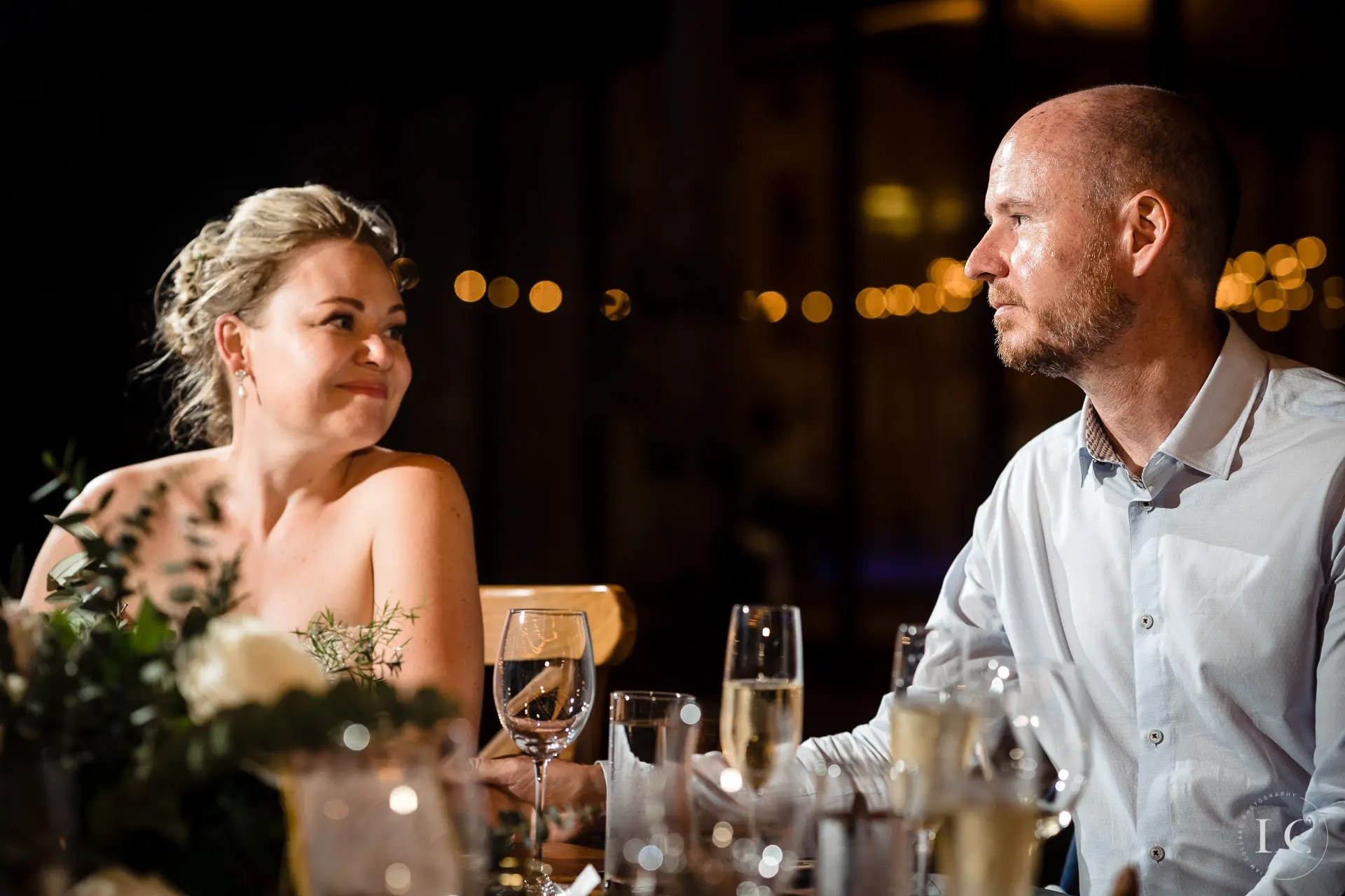 Seated guests at a wedding