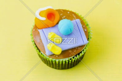 Top View Of Cupcake With Decorative Miniature