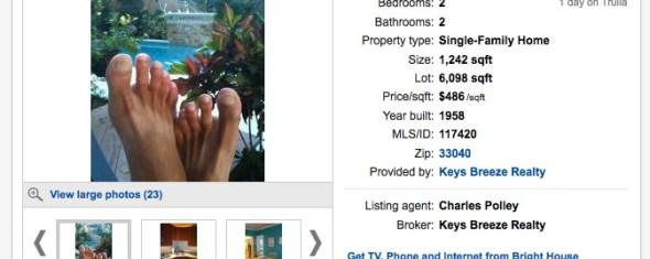 Bad MLS Photos:  Dirty Feet in a $600K Key West Listing
