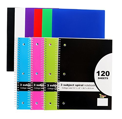 "6-Pack Two Pocket Poly Portfolio – 4-Pack 10½"" x 8″ 3 Subject Spiral Notebook, College Ruled – Back to School Set"