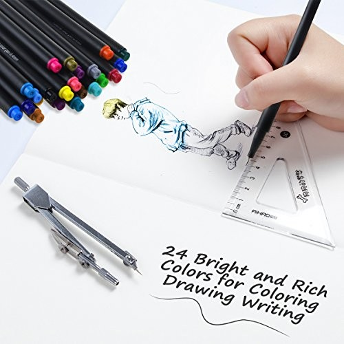 24 Colored Pens, WeGuard 0.4mm Fineliner Writing Drawing Pen Fine ...