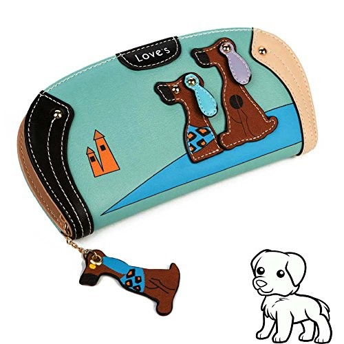 Summer Clearance Deal for Back to School Suppy-Women Clutch Wallet,Welegant Puppy & Dog Long Purse Organizer with Card Holder & Zipper Continental (Blue)