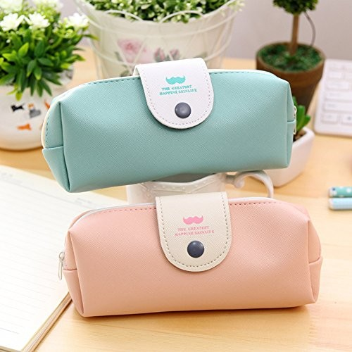 Portable Stylish Pen Pencil Bag PU Stationery Pencil Case Back to School Stationary Bag Pack of 2 Green and Pink#14-QBD