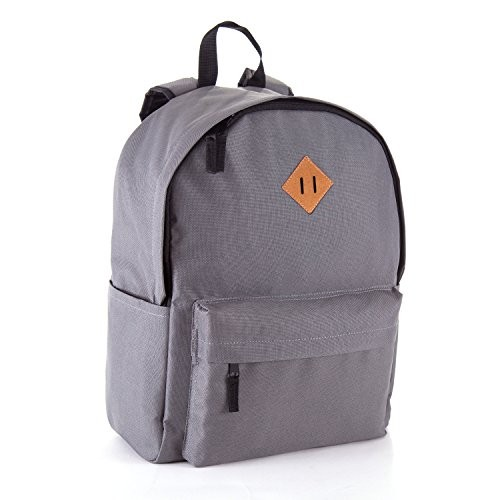JETPAL Everyday School Laptop Backpack fits up to 15.6 – Charcoal Gray & Brown