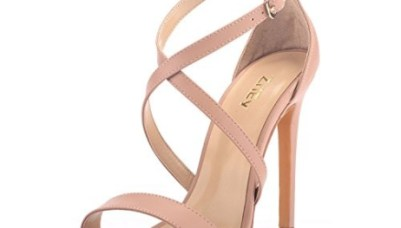 292c490f9a63e ZriEy Women Stiletto Sandals Cross Strappy High Heels 11CM Open Toe Bridal  Wedding Party Shoes Nude